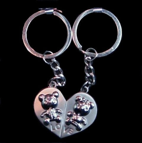 Duo TEDDY BEARS Love Split Heart 2 Piece Stainless Steel Keyring - Gift For Lover